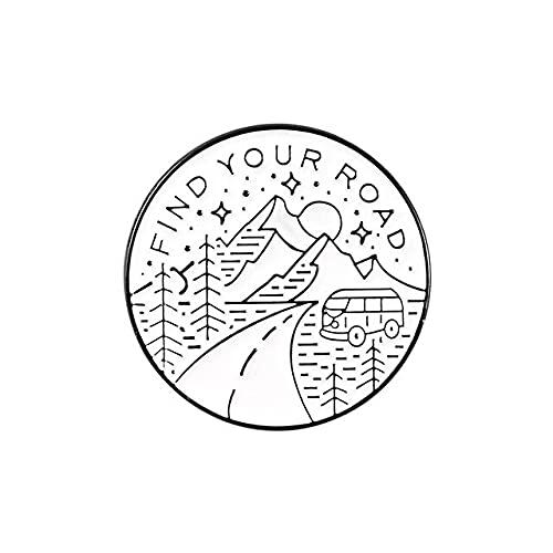 Berg Emaille Pin Bus Anstecknadel Wanderer Emaille Pins Finden Sie Ihre Road Traveller Broschen Abzeichen-Stil 2