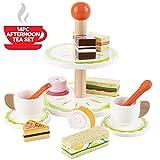 bee SMART Holz Tee-Playset Rollenspiel Küchenspielzeug mit Kuchen Leckereien und Sandwiches aus Holz für Kinder Rollenspiele, 14 STCK