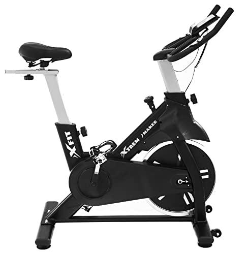 XTREM MAKER Bicicleta Spinning Estática de Fitness XBIKE ULTRA con Pantalla LCD, Asiento y Sillín Ajustables. Silenciosa, Resistencia Regulable. Volante Inercia 20 kg, Soporte Móvil y Tableta