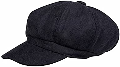 VBIGER Men and Women's Woolen Fedora Newboys Hat (Black)