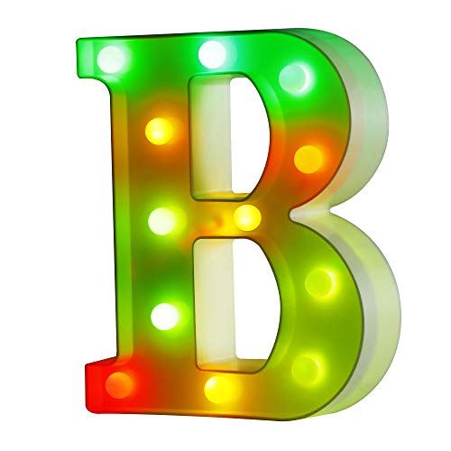 YOUZONE Multicolor Light up Letters Colorful Led Marquee Alphabet Letter Light Sign Battery Powered Night Light Letter for Home Bar Party Birthday Christmas Halloween Valentines Day DIY Decorations