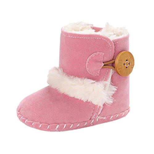 Primeros Zapatos para Caminar Auxma Zapatos cómodos Calientes Lindos de la Moda Infantil de la Muchacha del bebé Botas de Nieve de Invierno por 0-18 Meses (11cm/0-6 Meses, Rosado)