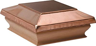 Woodway Flat Top Fence Post Cap 6 x 6 Copper Outdoor Cap for or Fence, Deck, or Patio with Solid Cedar Wood Base