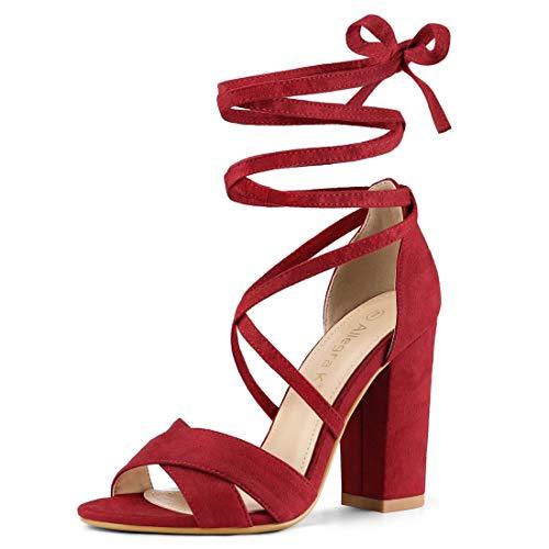 Allegra K Women Crisscross Front Block Heeled Lace Up Red Sandals - 6.5 M US