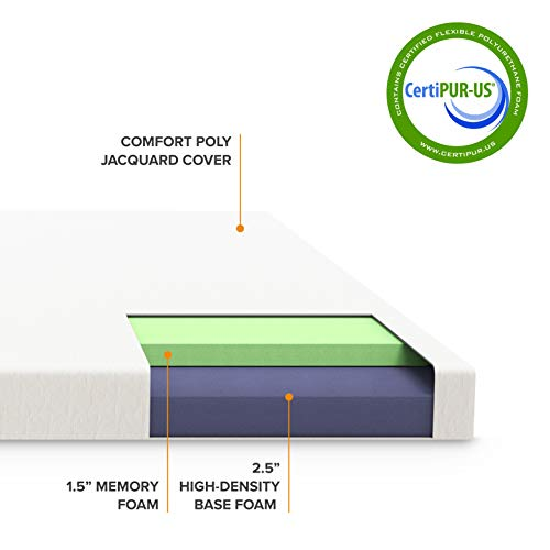"Best Price Mattress 4"" Cal King Trifold Mattress Topper - CertiPUR-US Memory Foam Mattress Topper with Cover, Cal King Size"