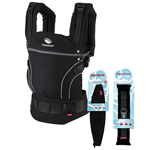 manduca First Babytrage Neugeborenen Bundle > BlackLine PhantomGrey < Von Geburt an Paket incl. Size-It (Stegverkleinerer) & Zip-In Ellipse (für Neugeborene), für Babys ab 3,5-20kg, schwarz-grau