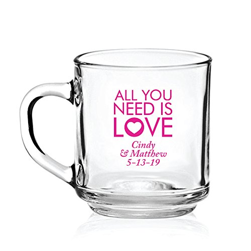 Personalized Color Printed Glass Coffee Mug - All You Need Is Love - Fuchsia - 144 pack