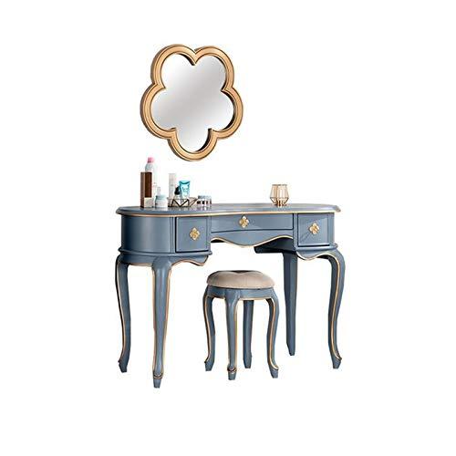 noyydh Vanidad Tabla de Vestuario Estadounidense con Flor en Forma de Espejo y el Maquillaje de Las heces, 3 cajones, Muebles de Dormitorio, Tocador 90 / 120cm