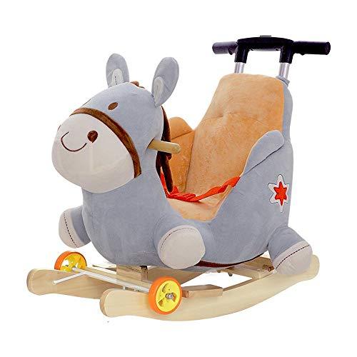 Kibten Karikatur-Esel-Schaukelpferd for 6 Monate und hoch Kind, Holzreitpferd Plüsch Fahrt kein Spielzeug Plüsch Stofftier Rocker Sitz mit Rad & Putter & Seat Belt