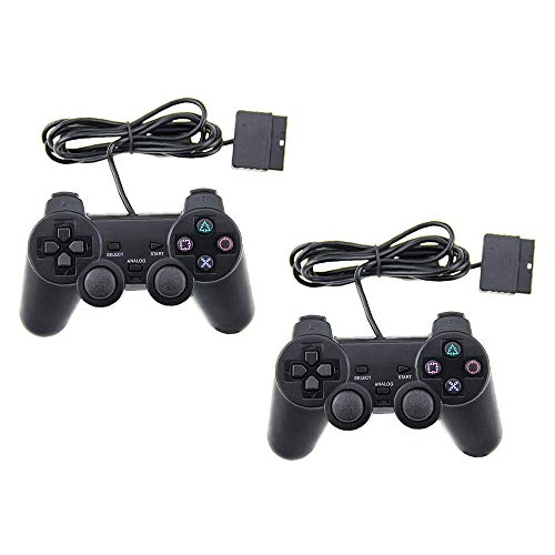 2x Wired Controller für PS2,Dual Vibration 6-Achsen Gamepad für Playstation 2 (Schwarz)