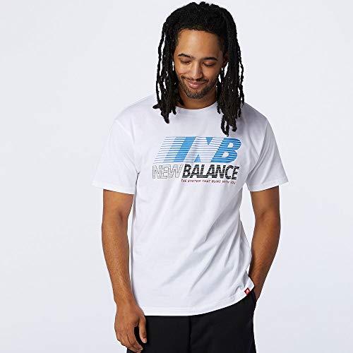 New Balance MT03513 Camiseta Deportiva para Hombre, Blanco, S