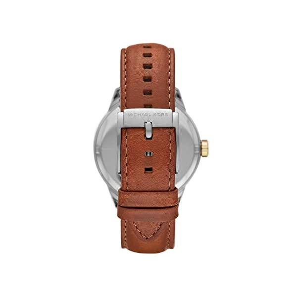 Michael Kors Men's Penn Stainless Steel Quartz Watch with Leather Strap, Brown, 21.5 (Model: MK7071)