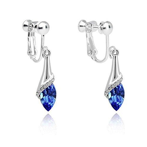 Latigerf Damen Träne Schraube Wieder Clip on Ohrhänger Swarovski Elementen Kristall blau
