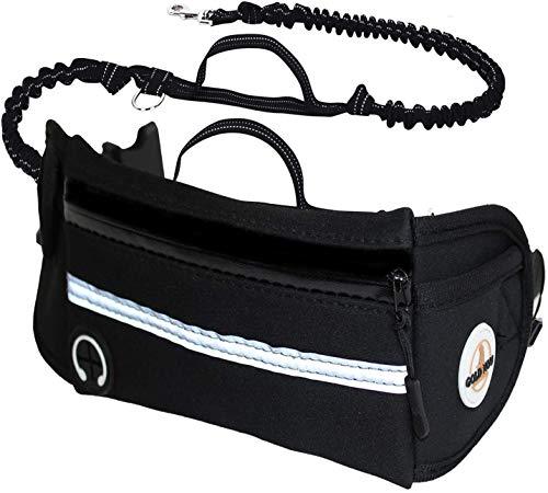 Goldinou Handfreie Hundeleine - Freisprechende Leine für Hunde - Laufen, Joggen und Gehen - Canicross Gürtel - Hundeleine mit Tasche