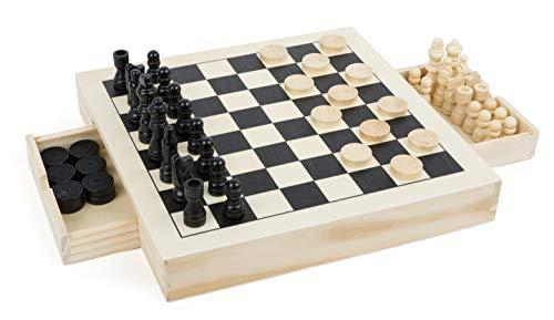 Small Foot 11208 3 in 1 Schach, Dame & Mühle, hochwertige Ausführung aus Holz, Spiele-Klassiker in einem Set mit 56 Spielfiguren, Ideal zum Mitnehmen, Für Kinder ab 6 Jahren Spielzeug, Mehrfarbig