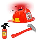 Funny Party Hats Fireman Hat -3 Pc Set - Fireman Helmet with Axe and Extinguisher - Firefighter Toys - Fireman Dress Up