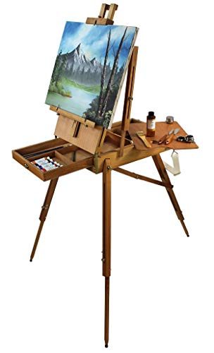 Artist Quality French Easel - Portable Art Easel with Storage Sketch Box, French Style Adjustable Painting Easel with Wooden Pallete & Shoulder Strap for Painting and Drawing