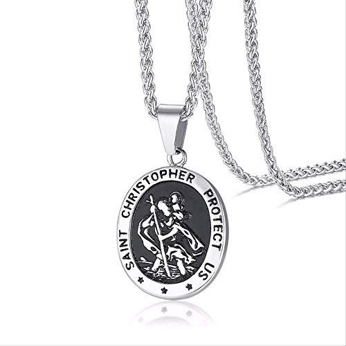 SWAOOS Hombres Acero Inoxidable Ovalado San Cristóbal Medallón Colgante Collar Joyería Religiosa con Cadena De 24 Pulgadas