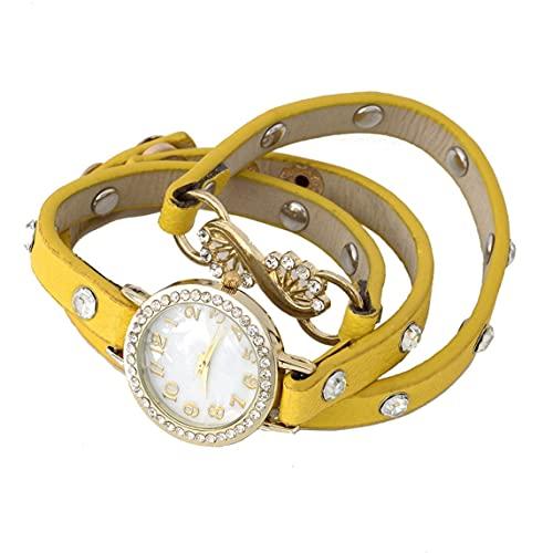 Petrichori Moda Mujer Cristal multicapas Banda Pulsera Reloj de Pulsera analógico de Cuarzo - Amarillo