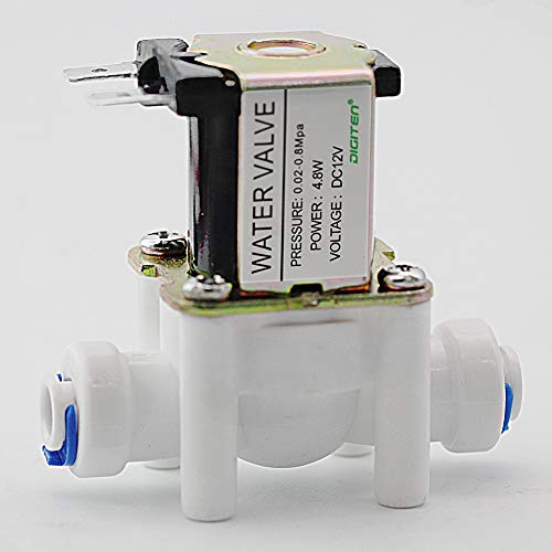 DIGITEN DC 12V 1/4' Inlet Feed Water Solenoid Valve Quick Connect N/C normally Closed