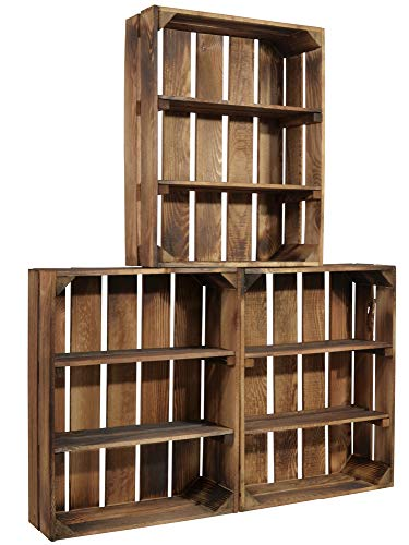 CHICCIE 3 Set Geflammte Holzkiste Schmalhanz - Mit Zwei kurzen Regalen Gewürzregal Bücherregal Weinregal 50 x 40 x 15cm