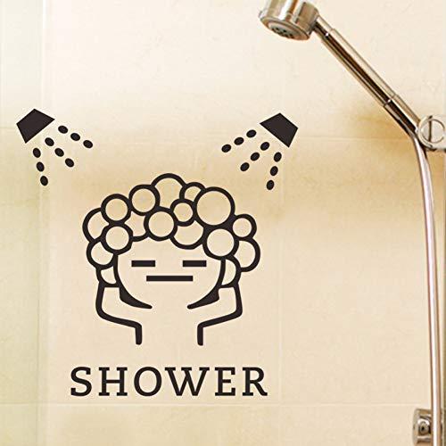 LNOFG Funny Wall Stickers Bathroom Glass Door Stickers Cute Children Girl Shower Stickers Waterproof Vinyl Decorative Decals
