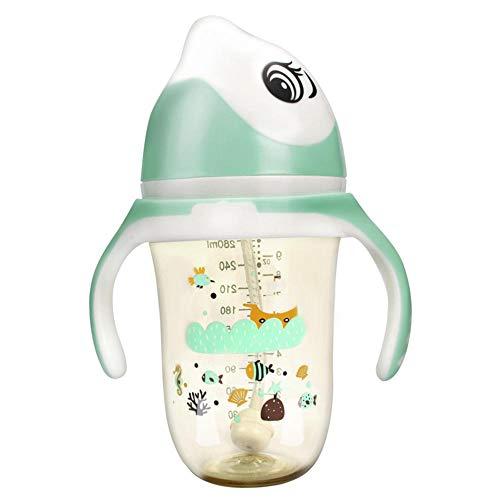 Baby strapazierfähige Anti-Fall-Flasche Weithalsflasche Babygriffsilikon-Saugerflasche 280ml@Grün