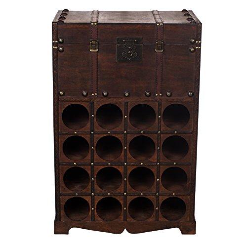 Harvest Regal FM 09525, Weinregal mit Ablagefach 80 cm hoch, Holztruhe,