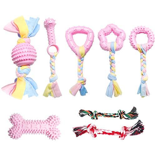 6 + 2 Stück Welpenspielzeug-Set, Kauspielzeug für Hunde, süßes Interaktives Kauen Seilspielzeug Zahn Sauberes Spielzeug mit Baumwolle und Gummi für kleine Hunde, waschbares Baumwollseil-Hundespielzeug