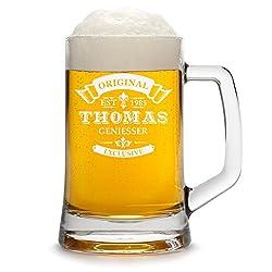 polar-effekt Bierkrug Personalisiert mit Gravur eines Namens und Jahreszahl - Bierseidel Geschenk zum Geburtstag mit - Motiv Original-Exklusive 0,5l