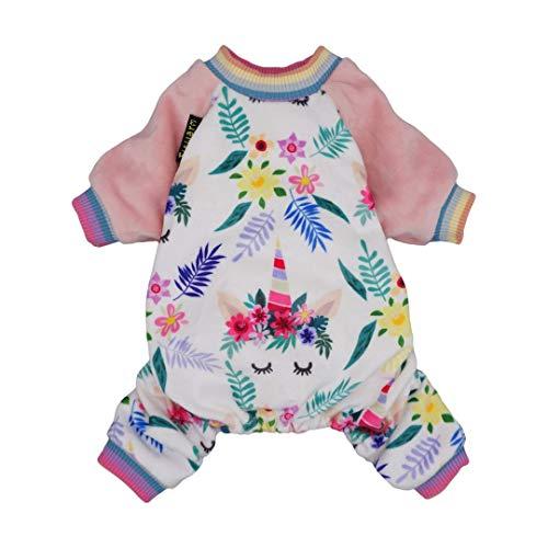 Fitwarm Unicorn Pet Clothes for Dog Pajamas Cat Onesies Lightweight Velvet Pink XXL