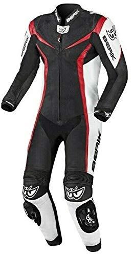 Berik Traje de moto de una pieza de piel para motociclista, color rojo, 40 EU 50
