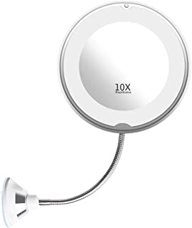 Makeup Mirror, Flexible Gooseneck 8 inch 10x Magnifying LED Lighted Makeup Mirror, Bathroom Vanity Mirror with Lights, Strong Suction Cup, 360°Rotation, Daylight, Battery Operated