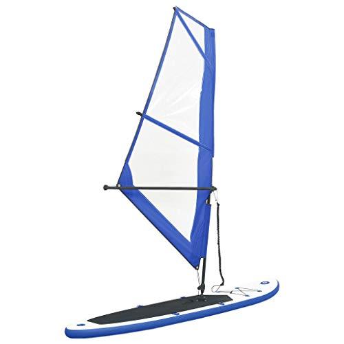 vidaXL Tabla Inflable de Paddle Surf Sup Remo Hinchables Diversión Mar Juegos al Aire Libre Exterior Terraza Deporte Aventura Acuáticos Azul y Blanco