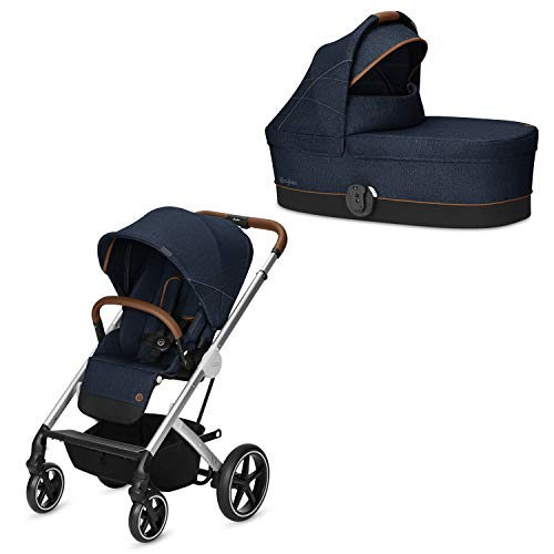 Cybex Gold - Cochecito Balios S con silla reversible y con capazo S, desde el nacimiento hasta 17 kg (aprox. 4 años), manhattan grey