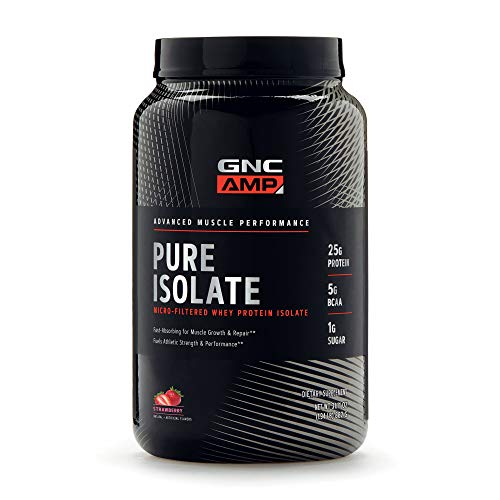 GNC AMP Pure Isolate - Strawberry, 28 Servings, 25 Grams of Whey Protein Isolate