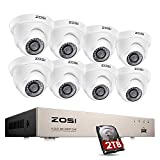 ZOSI 8 Channel CCTV System 8x 1080P 2MP H.265+ Dome Security Cameras Surveillance DVR Kit w/ 2TB Hard drive Home Secueity