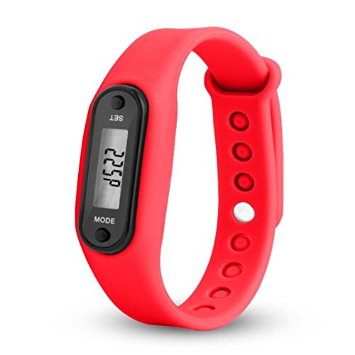 Schrittzähler Armbanduhr,Hansee Digital LCD Schrittzähler Kalorienzähler Sportarmband Fitnessarnband (Rot)