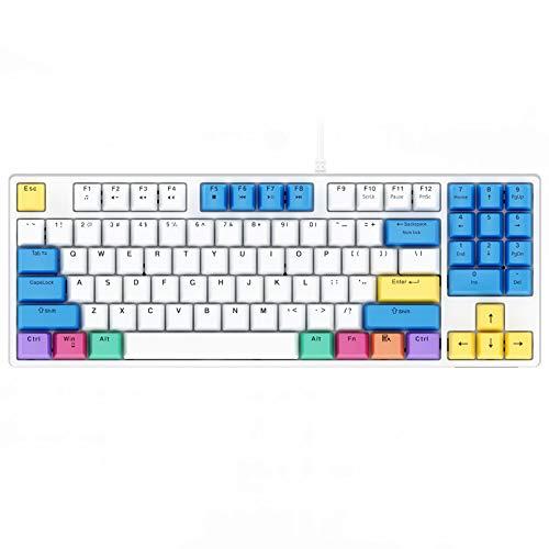 Havit 白い 89キー ゲーミングキーボード 赤軸 メカニカル キーボード 有線 PBTキーキャップ US Layout KB487L