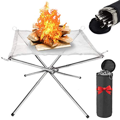Wendergo Portable Fire Pit, 16.5 Inch Outdoor Collapsing Camping Fireplace Stainless Steel Mesh and Foldable Stands with Carrying Bag for Garden, Patio, Camping, Barbecue, Outdoor