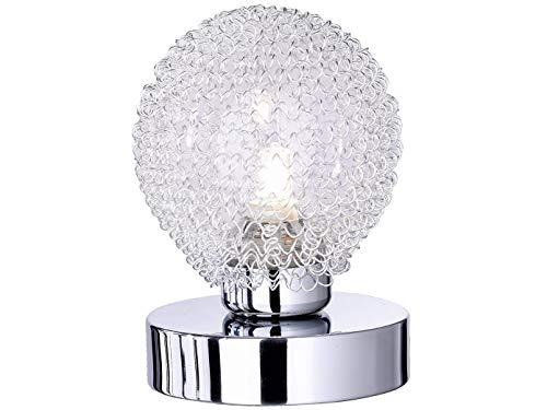 Ausgefallene LED Tischleuchte 1 flammig Alu Drahtgeflecht in Silber Chrom mit Touch Dimmer