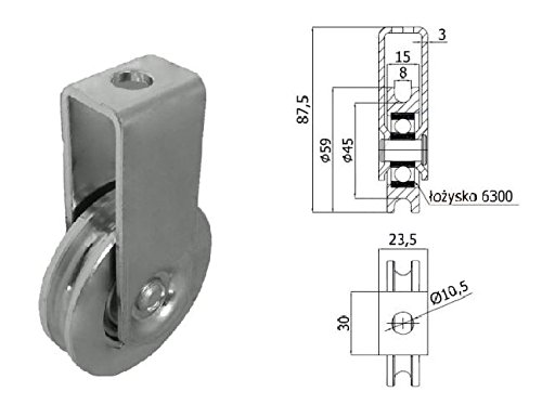Zabi Seilrolle 59 mm fur Seil 8 mm Metallprofilrollen d=59mm/8 mit Lagerung mit Gehäuse