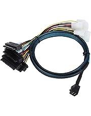 CableDeconn SFF-8643 wewnętrzny mini SAS HD na (4) 29-pinowe złącza SFF-8482 port zasilania 12 GB/S kabel (1 M)