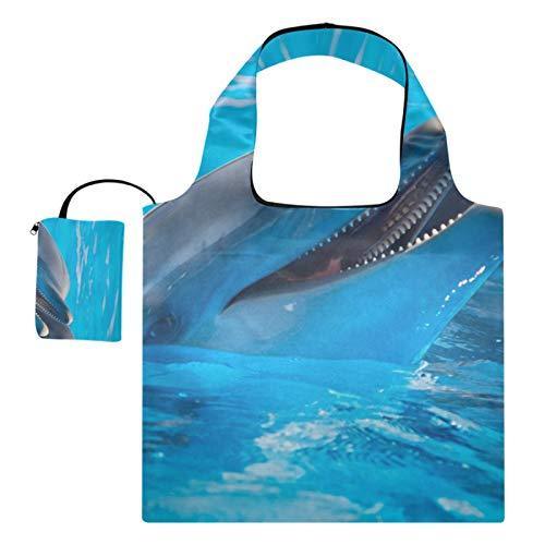 XiangHeFu Bolsas de compras reutilizables de los totalizadores del regalo del ultramarinos capacidad grande plegable, delfines la piscina