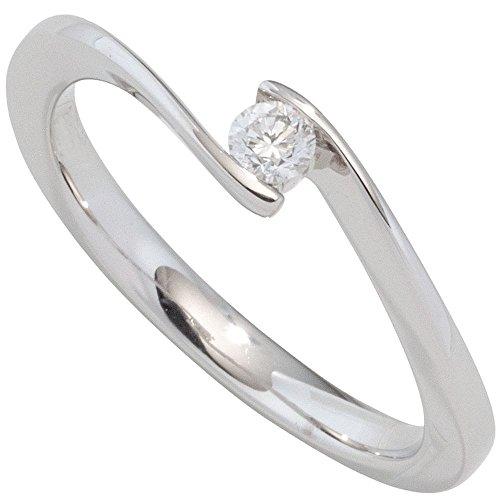 Schmuck-Krone - Goldschmuck FINERING - Anello, con Diamante, Oro bianco, misura 12