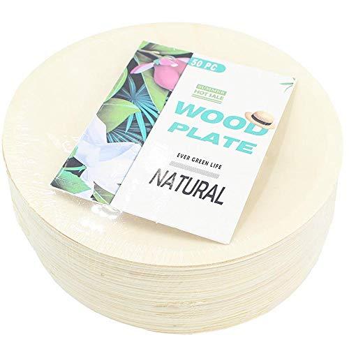Natürliche und umweltfreundliche Einweg-Holzteller für Salate und Vorspeisen, 28 cm/23 cm/19 cm/15 cm/14 cm 6inch(100pcs/bag) gelblich
