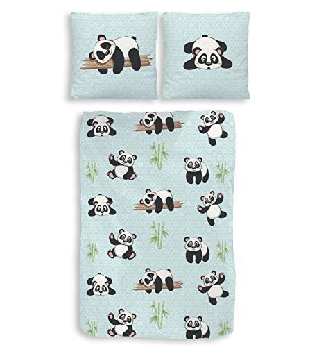 Dobnig Panda Bettwäsche 135x200 | Bettwäsche aus 100% Baumwolle 2 teilig | Kinderbettwäsche mit Pandabären Motiv | Bettwäsche Mint Biber