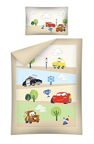 Kinderbettwäsche Cars braun 100x135 cm + 40x60 cm 100% Baumwole Bettgarnitur Baby Bettwäsche 2 tlg. Bettset