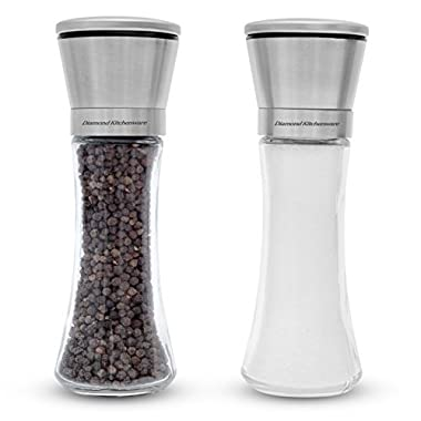 Diamond kitchen Clearance sale! Premium Salt And Pepper Shakers 6 Oz – Unlike Other Grinder - Adjustable Ceramic Rotor - BUY IT AND GET - Cleaning Brush and Wood Spoon.
