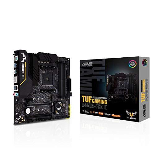 ASUS TUF GAMING B450M-PRO II, Scheda madre Gaming micro ATX AMD B450 (AM4), M.2, PCIe 3.0, microfono a cancellazione del rumore AI, HDMI, DP, USB 3.2 Gen 2 Type-A e Type-C, supporto RGB Aura Sync